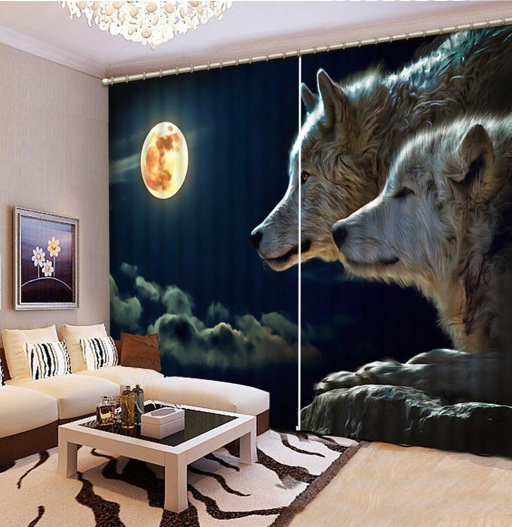 Personalizado 3d Lobo Lua Cortinas Cortinas Para Sala De Estar