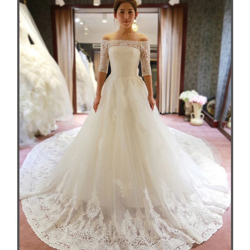 2016 Spring Pretty Lace Wedding Dresses Half Sleeve Off the shoulder ...