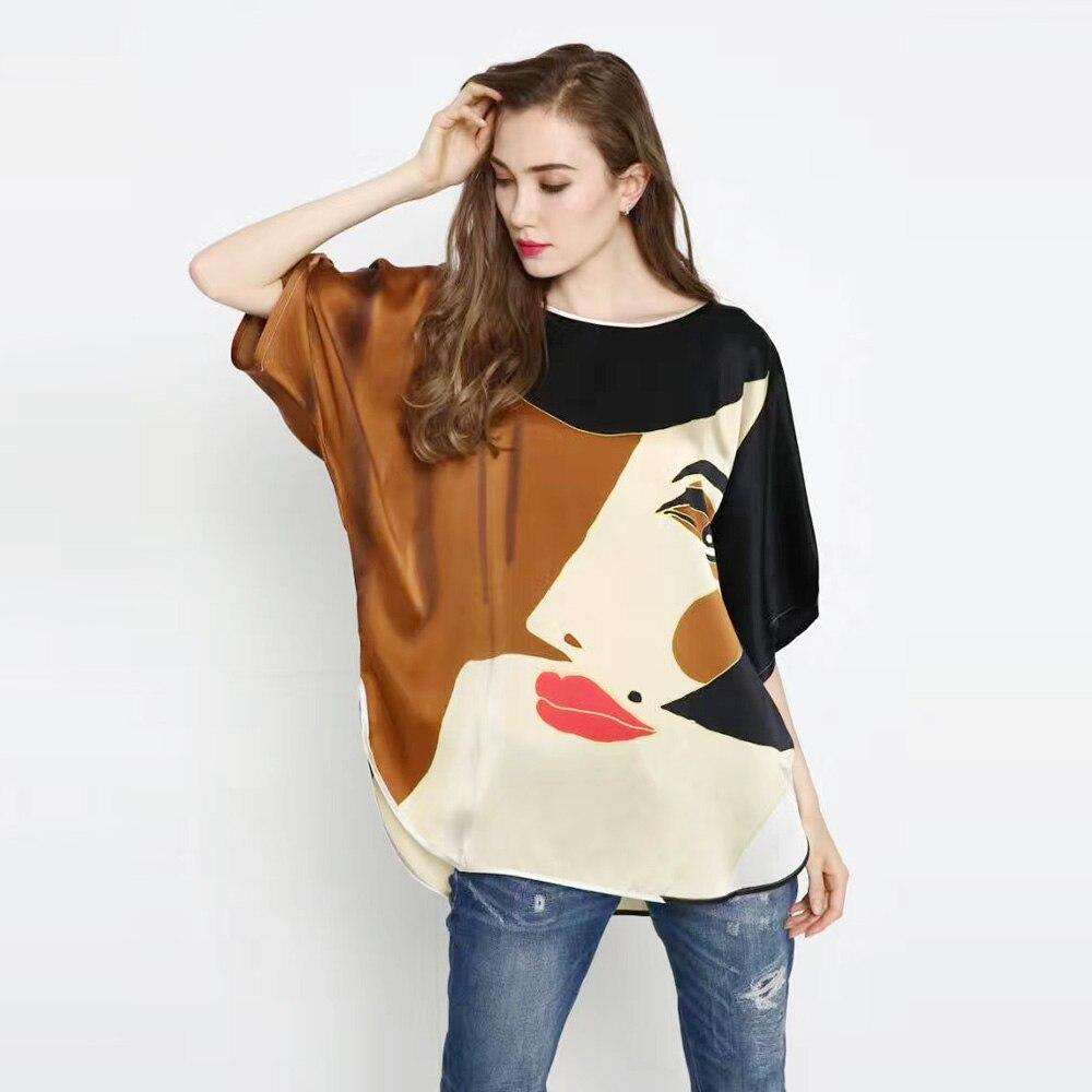 100 Silk Satin Shirt Pure Silk Printed Fabric Women Summer Shirts short sleeve Cool Breathable New
