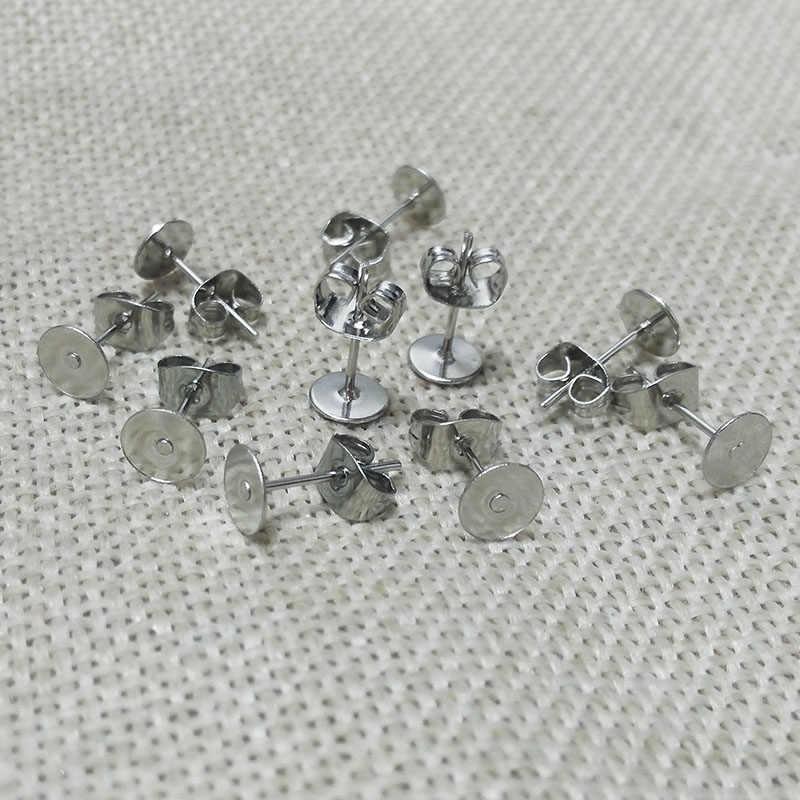 Anting-Anting Temuan Kancing Kosong Dasar Pengaturan Tray W/Kupu-kupu Anting-Anting Kembali Stopper Datar Kepala Pin Jarum Kiriman Perekatan Di cameo