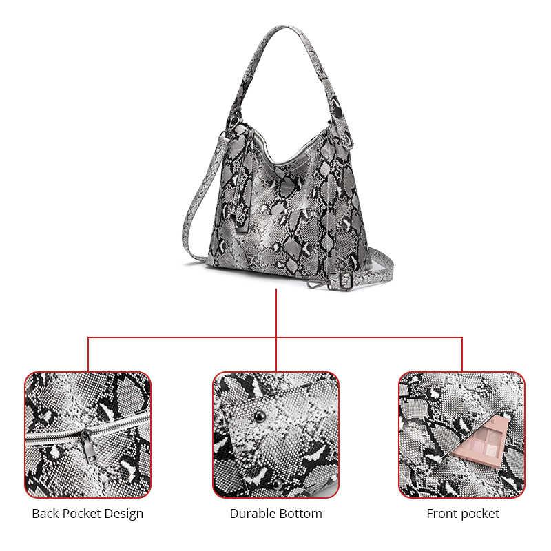 REALER бренд сумки Хобо для женщин 2019 большая сумка на плечо женская большая сумка змеиный принт питон роскошные сумки