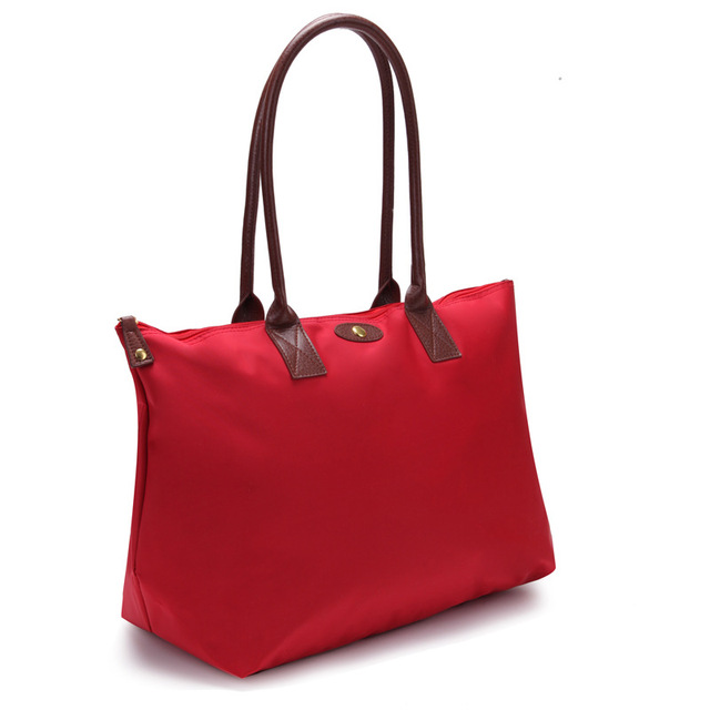 Oversize Per Folded Classy French Style Nylon Tote Bag Soft Women Purse Large Bags Weekend