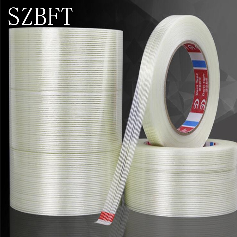 SZBFT 1pcs 5-15mm*50M Strong glass fiber tape transparent striped single side adhesive tape free shipping