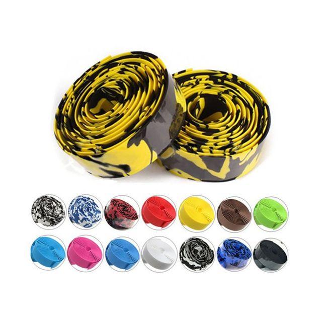 Road Bike Bicycle Handlebar Tape Camouflagebelt Cycling Handle Belt Cork Wrap with Bar Plugs non slip absorb sweat