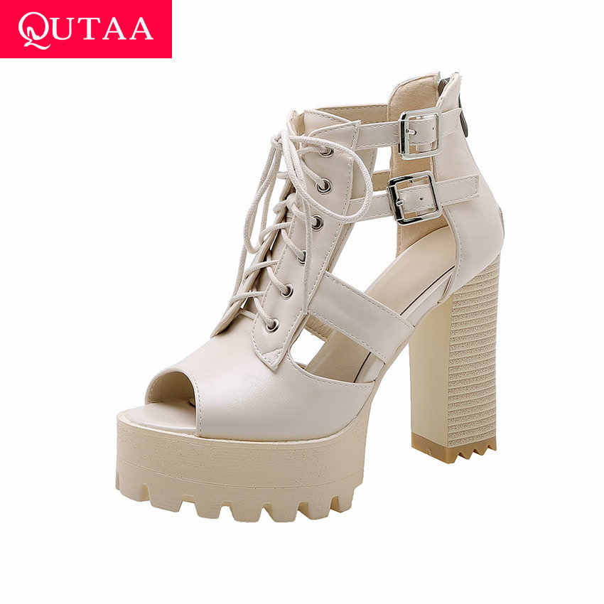 QUTAA 2019 kadın ayakkabı kaba yüksek topuk seksi Peep Toe Punk serin çizmeler platformu Lace Up fermuar yaz bayanlar sandalet boyutu 34-42