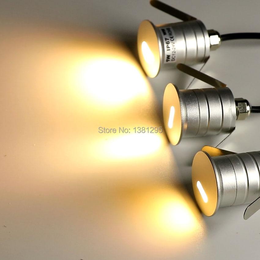 1W 12V 24V IP67 LED Terrace Lighting Outdoor Stairs Step Lamp Mini LED Recessed Floor Deck Light Outside Waterproof Spot Light