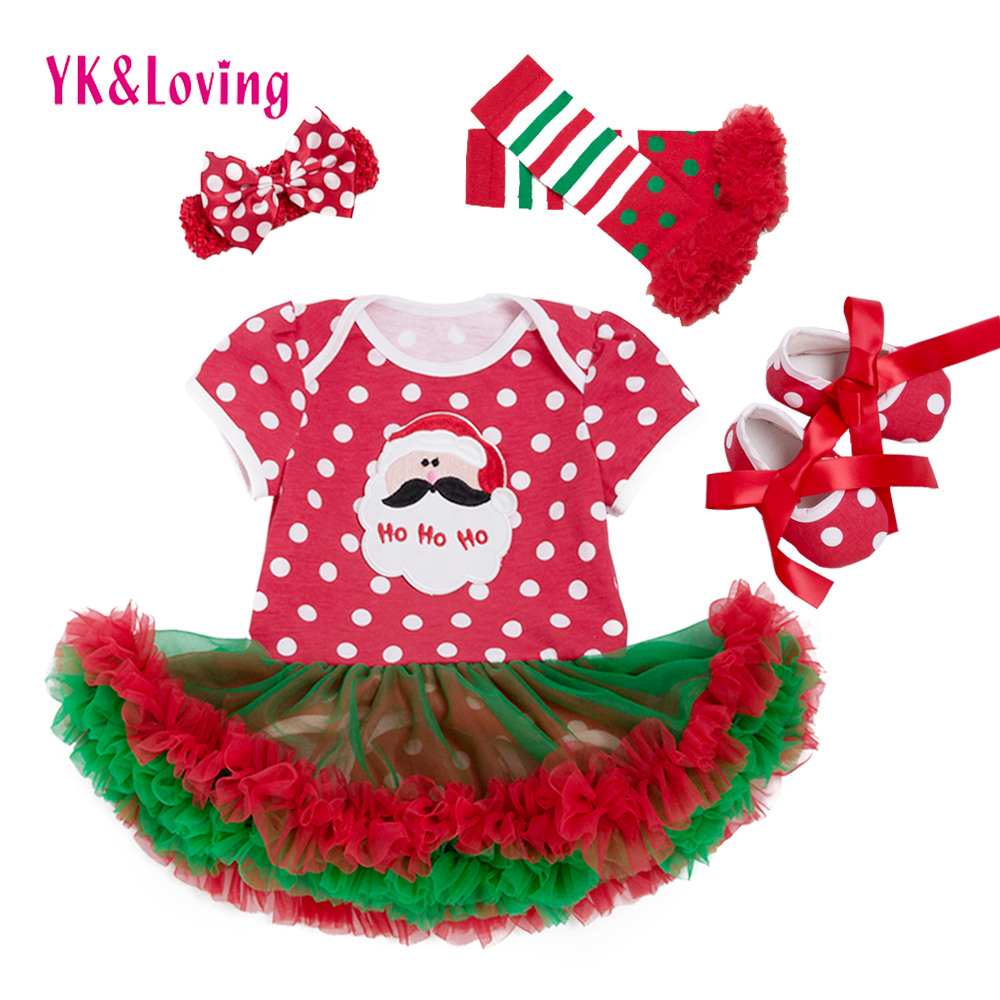 Christmas Dress Baby Girls 2017 Xmas Style Girls Cotton Short Sleeve Red Dot Newborn Romper Tutu Dress Party Princess Dresses