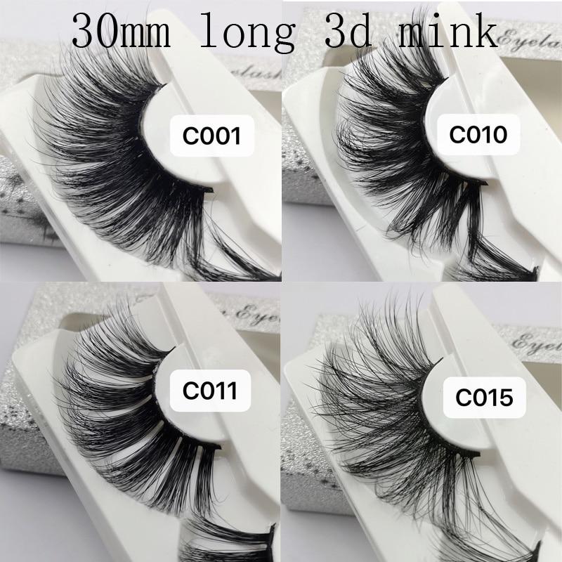 NEW Longer Than 25mm Eyelashes 30mm 3D Mink Lashes Extra Length Mink Eyelashes Big Dramatic Volumn Strip Thick False Eyelashes
