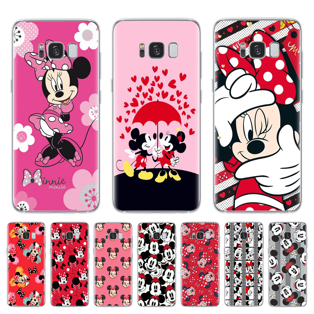 Phone-Cover Soft-Case Coque Samsung S7-Edge Note 8 S9 Plus Mickey Minnie Cute for S6