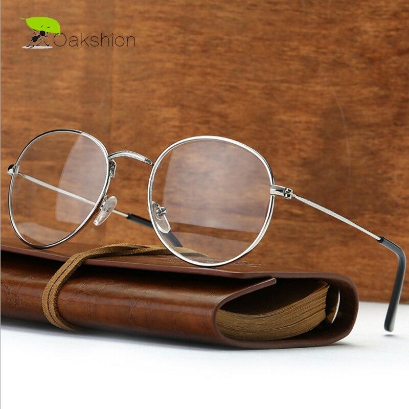 Vintage Round Metal Glasses Frame Men/Women Fashion Oval Transparent Clear Lens Black/Silver/Gold/Brown/Gray Frame Spectacles