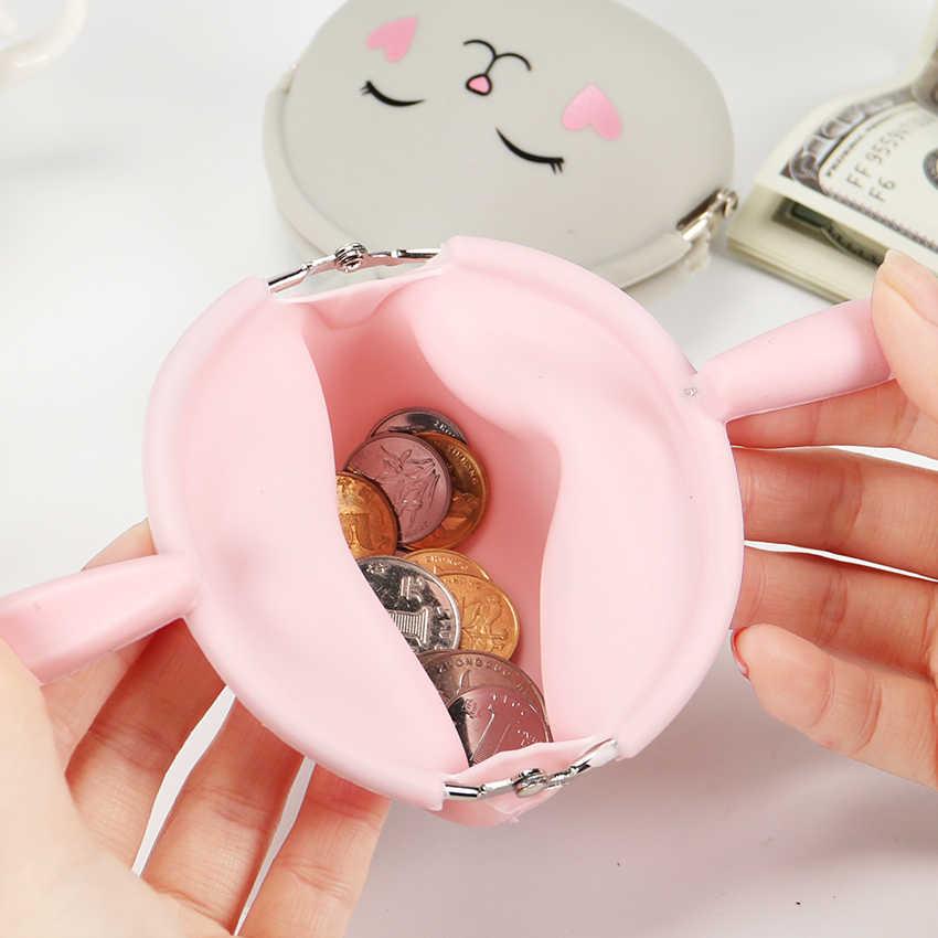 Kawaii moda moeda bolsa adorável kawaii dos desenhos animados coelho bolsa feminina meninas pequena carteira de silicone macio moeda saco do miúdo presente
