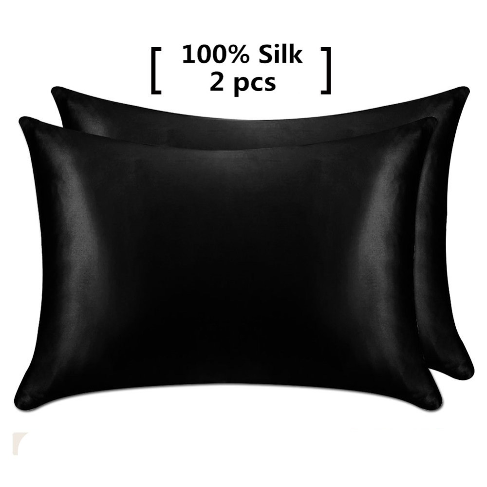 1 Pair 100% Mulberry Silk Pillowcase with Hidden Zipper Nature 