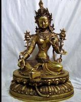 671116484+++13 China brass carved Kwan yin sculpture copper fine buddhism Green Tara statue