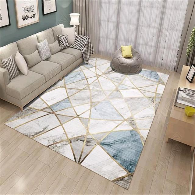 Nórdico moderno Tapetes Para Sala de estar Sofá Mesa de Café Tapete Casa Tapete Quarto Study Room Floor Mat Linha de Mármore Decorativo tapetes