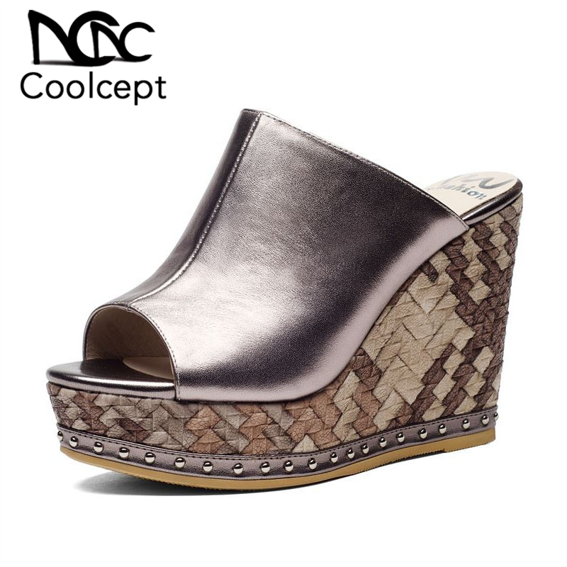 Coolcept 2019 Brand Genuine Leather Women Sandals High Quality Wedges Shoes Leisure Outdoor Sexy Women Footwear Size 34-39Coolcept 2019 Brand Genuine Leather Women Sandals High Quality Wedges Shoes Leisure Outdoor Sexy Women Footwear Size 34-39
