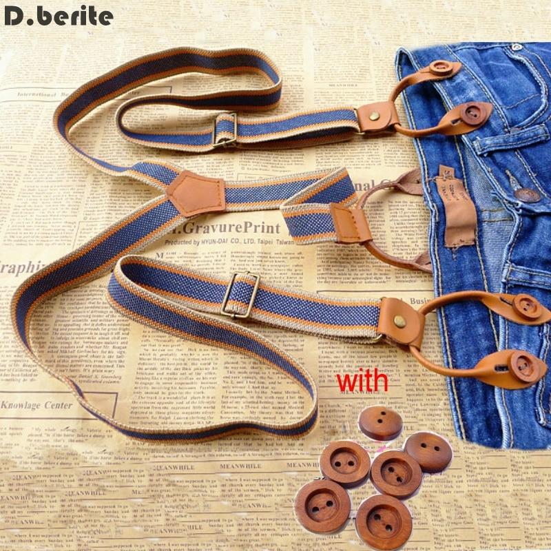 Mens Blue Striped Braces Unisex Adjustable Six Button Holes Suspenders Button Braces Adult Belt For Wedding Party BDXJ2533