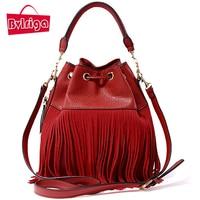 BVLRIGA Tassel Red PU Leather Handbag Women Bag Female Shoulder Crossbody Bag Women Messenger Bag Bucket Tote Bag Barrel Small