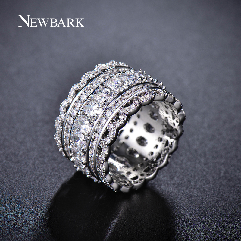 ZOEVON Luxury Wide Circle Women Rings With Oval AAA Cubic Zirconia And Small Round CZ Diamond