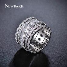 Newbark Роскошные широкий круг Для женщин Кольца с овальной AAA кубического циркония и модные маленькие круглые cz кольца ювелирные изделия