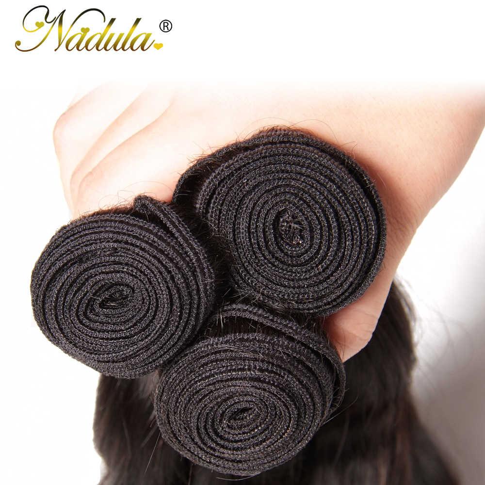 Nadula, mechones de cabello ondulado Natural con cabello Frontal brasileño, ondas de 3 mechones con cierre, extensiones de cabello humano Remy de 10-26 pulgadas