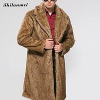 Men Faux Fur Coats 2017 Fashion Winter Outwear Fake Fox Fur Long Jackets Fur Coats Plus