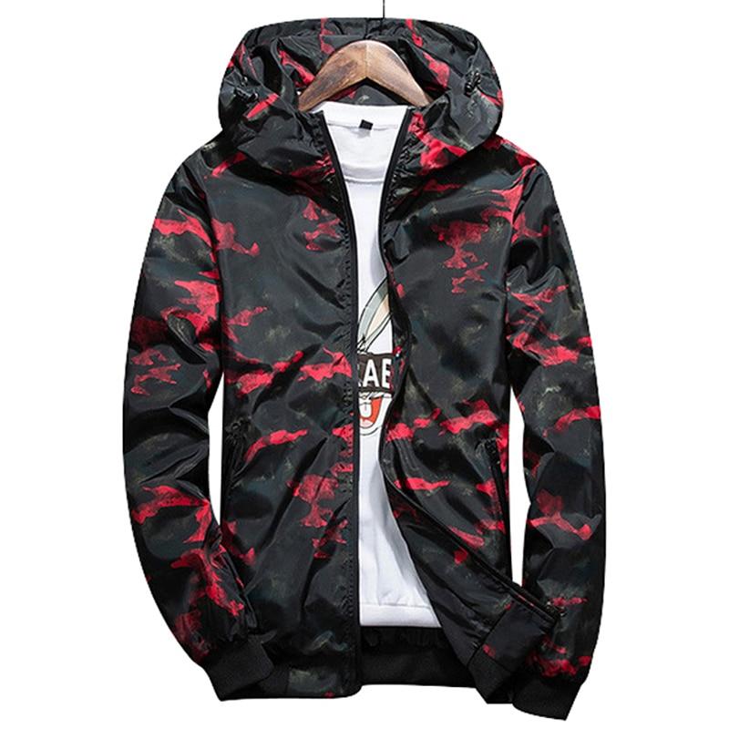 Men Bomber Jacket Thin Slim Long Sleeve Camouflage Military Jackets Hooded  Windbreaker Zipper Outwear Waterproof Brand Clothing