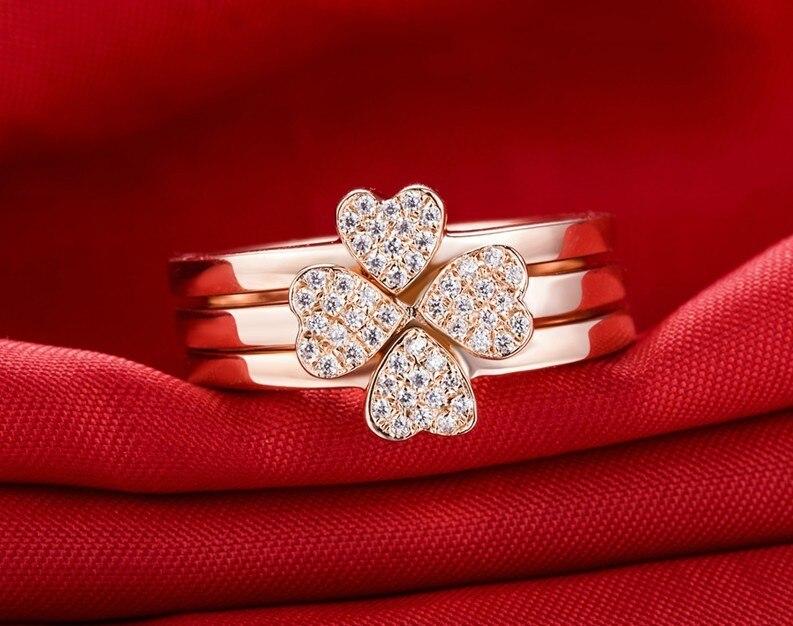 8f58a9a3a796 Anillo del trébol diseñador Anillos set Sona tres corazones anillo combinado  Conjunto de compromiso para las mujeres plata esterlina 18 K rosa oro en ...