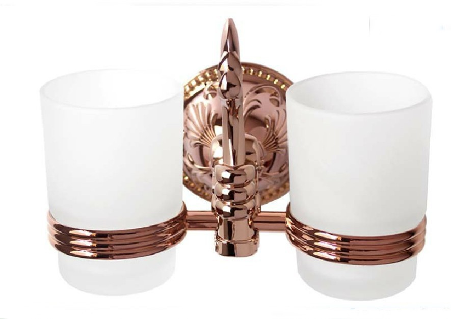 FREE SHIPPING new design 24k ROSE GOLD double tumbler holder cup&tumbler holders tumbler tooth brush holder bathroom accessory free shipping new design 24k rose gold double tumbler holder cup