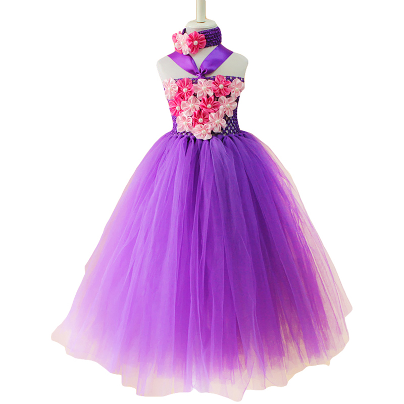 Beautiful purple flower tutu dress summer baby girl