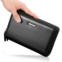 New Men PU Leather Wallets Large Capacity Clutch Gift For Male Business Double Zipper Long Multifunction