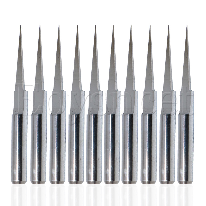 10Pcs 10 Degree 0.1mm Carbide Engraving Bits CNC Router Tool For PCB Board