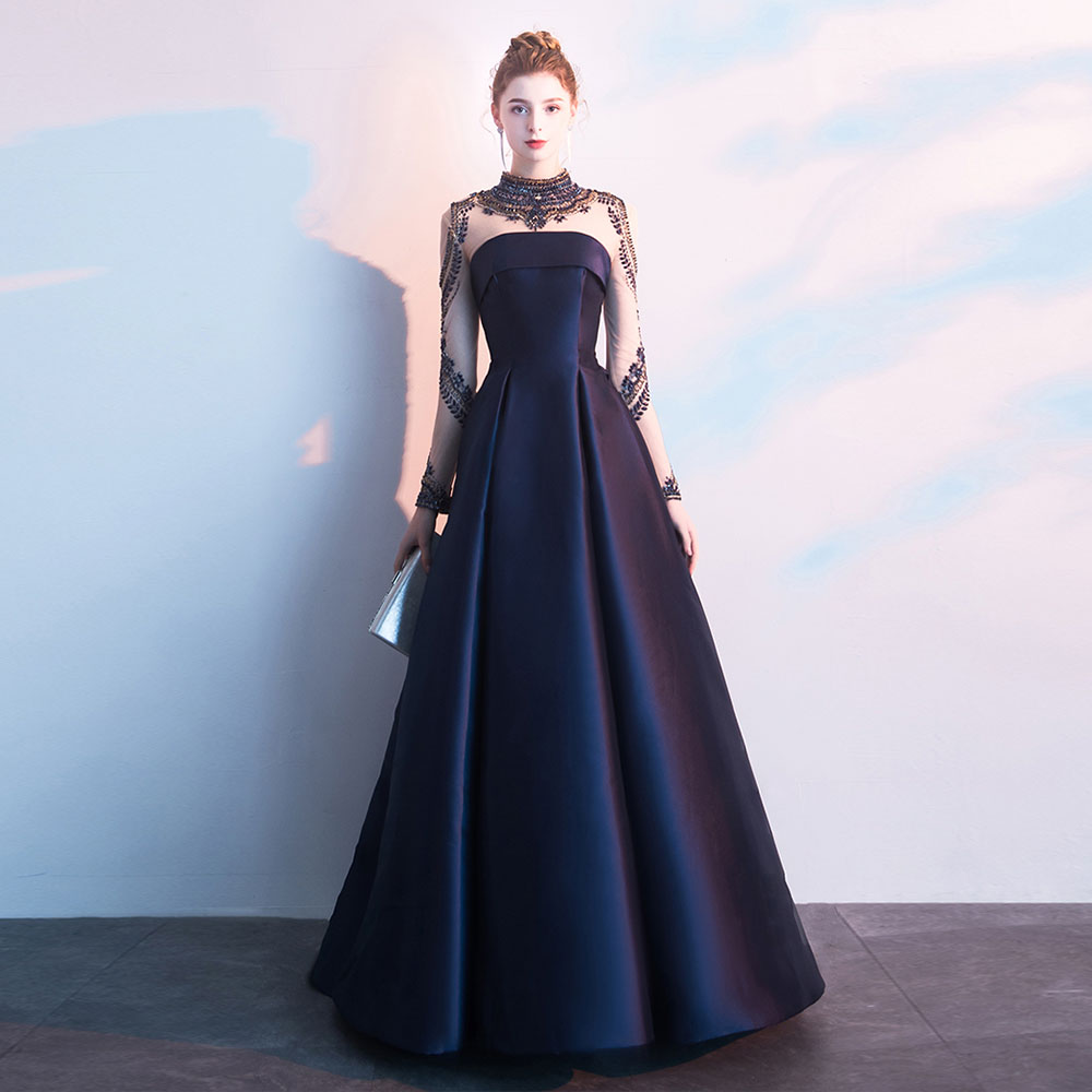 2019 Long Sleeve Evening Dresses With Crystals Beads Chiffon Prom Gown Elegant A-Line Robe De Soiree Wedding Guest Gown Party