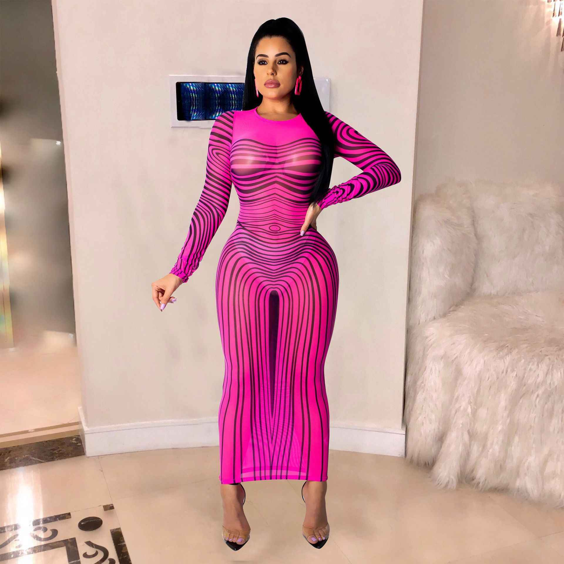 Красивое платье в полоску с принтом градиентного цвета, женское Сетчатое платье, облегающее платье для вечеринки, летнее облегающее платье с длинными рукавами и высокой талией