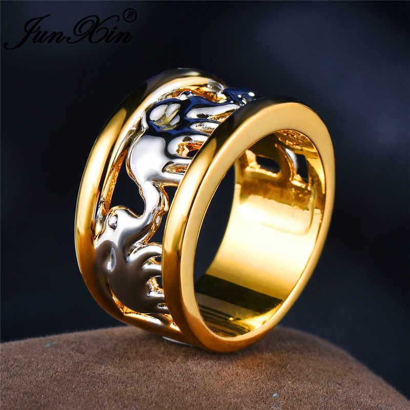 JUNXIN หรูหราชายหญิงสัตว์เงินช้างแหวนสำหรับผู้ชายผู้หญิงทองคำขาวกลวงงานแต่งงานของขวัญคริสต์มาส