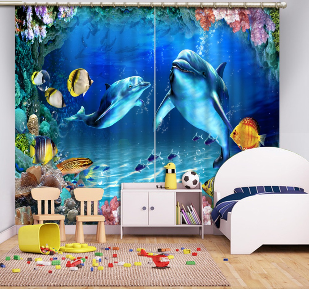 Modern Home Decoration Blackout 3D Curtain stereoscopic ocean dolphin curtains blue curtains in Curtains from Home Garden
