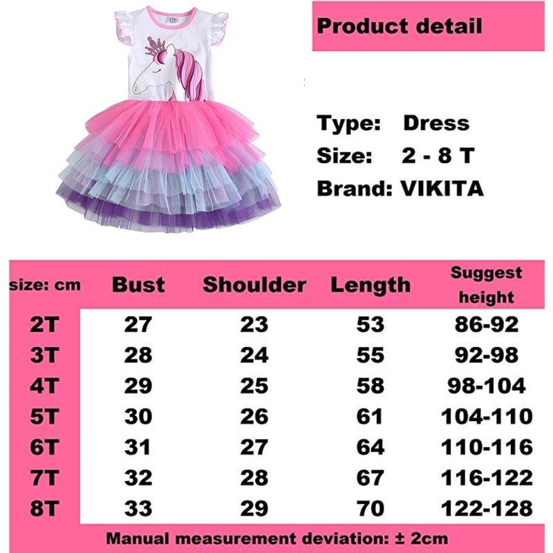 Купить с кэшбэком VIKITA Girls Unicorn Tutu Dress Kids Sequined Princess Vestido Girls Birthday Party Dress Children Summer Unicorn Costumes