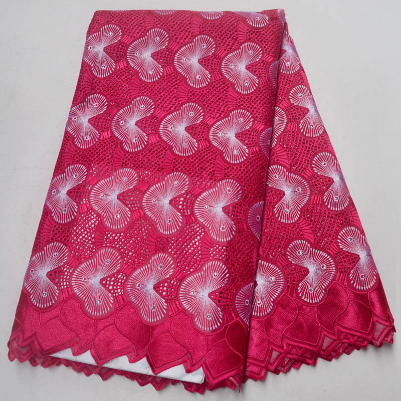 African cotton lace fabric 2018 high quality lace swiss voile lace in switzerland with Stones for Women Wedding dress fuchsiaAfrican cotton lace fabric 2018 high quality lace swiss voile lace in switzerland with Stones for Women Wedding dress fuchsia