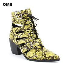 OIAH Brand Ankle Boots for Women Green PU Leather Hollow Out Short Lace Up Fashion Sexy Pointed Toe Western Cowboy Botas