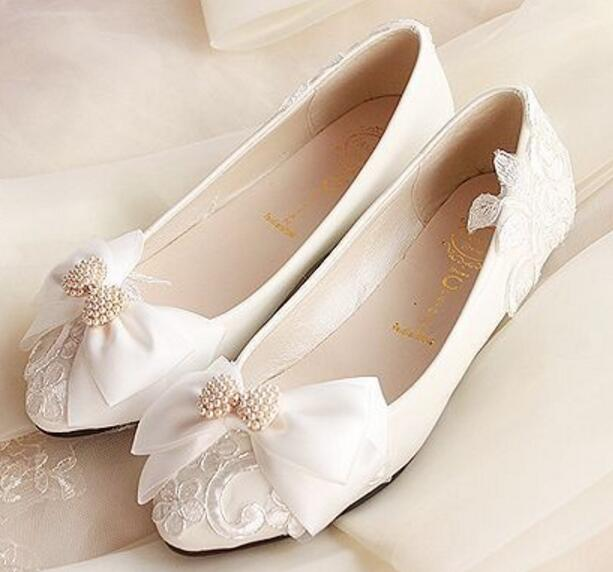 Butterfly Knot Bowtie Wedding Shoes Women White Color