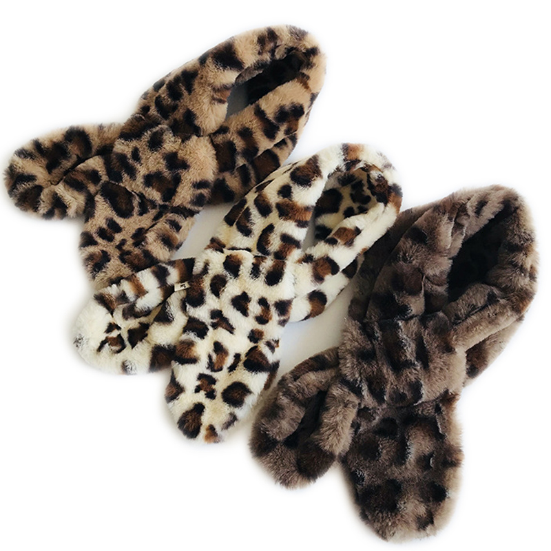 Winter NEW Children Winter Leopard Animal Print  Furs Scarf Warm Girls Kids Fur Collar Neck Warmer Neckerchief Cross Scarves