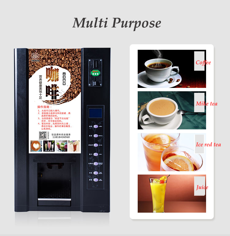 Commercial Vending Coffee Machine Self-service Cold/Hot Coin Beverage Machine Full-automatic Instant Coffee Machine MM801