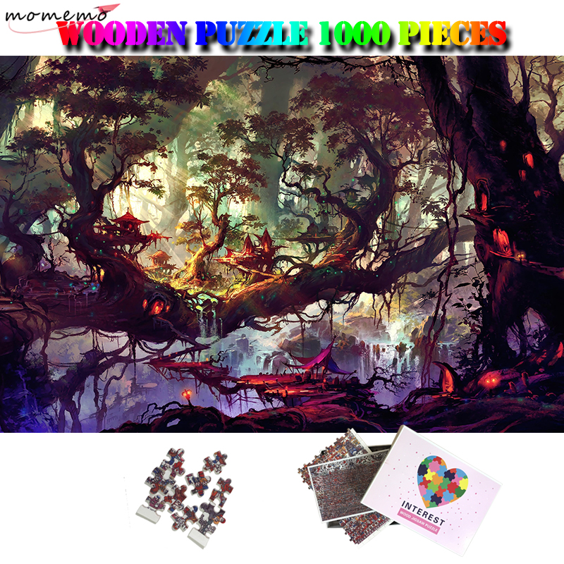 MOMEMO Castles In The Deep Woods Customized Adults Jigsaw Puzzle 1000 Pieces Wooden Puzzles Beautiful Landscape Puzzle Kids Toys