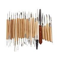 22 peças de aço inoxidável e madeira lidar com argila cerâmica escultura ferramenta faca de madeira ótimo
