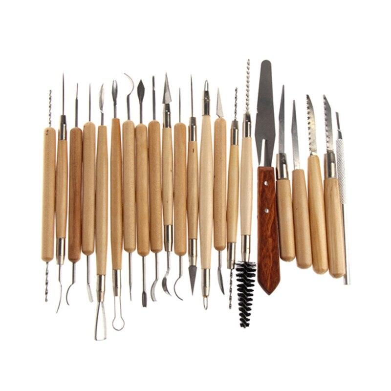22 piezas acero inoxidable y mango de madera arcilla cerámica escultura herramienta madera cuchillo grande