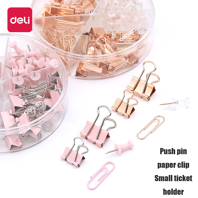 Deli 1pcs Stationery Set Pink Metal Paper Clip Multipurpose Thumbtacks Office Document Data Paper Storage Sorting Long Tail Clip