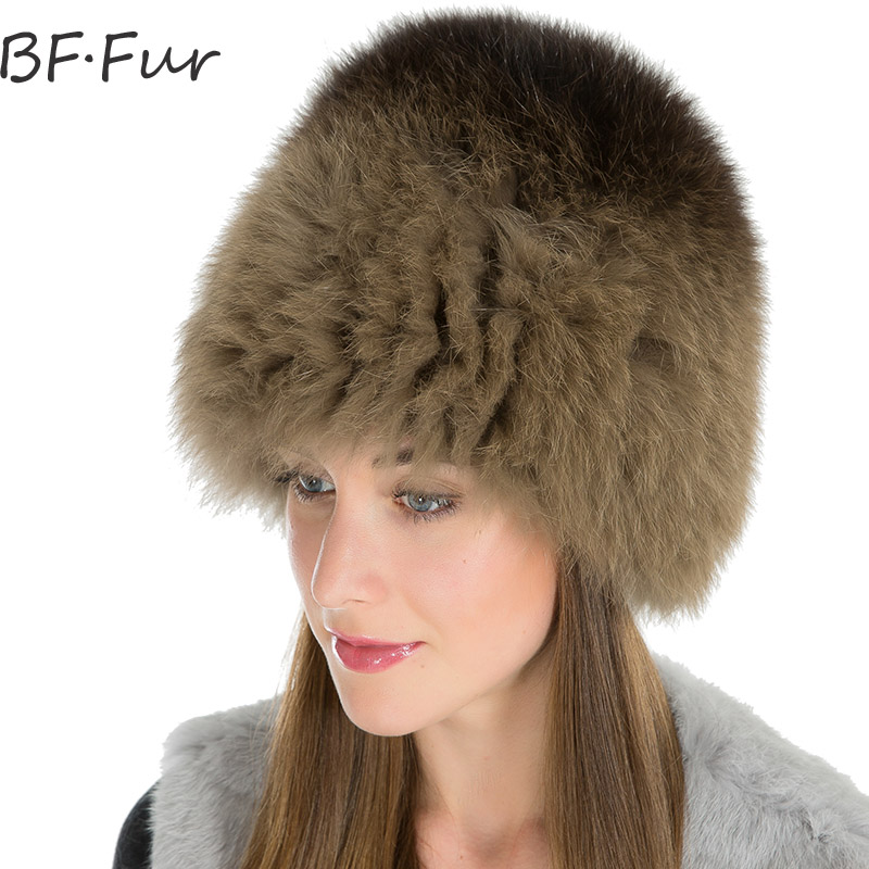 Russian Warm Fox Fur Beanies Hat For Girls Winter Warm Knitted Cotton Caps Women Natural Mixed Color Fashion Fur Hats Bonnet