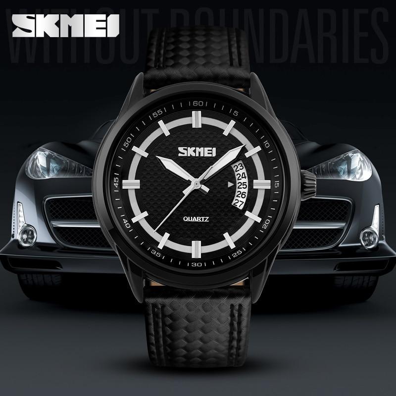 2018 SKMEI Popular Brand Men Watches Fashion Quartz Watch Black Case Wristwatches 50m Waterproof Leather Strap relogio masculino