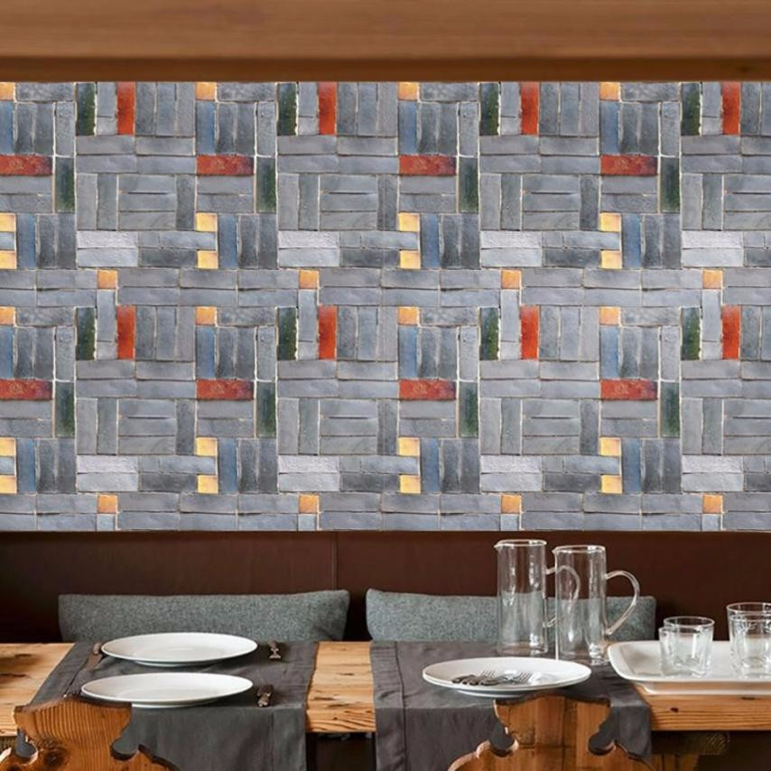 3d wall paper brick stone rustic effect self adhesive wall sticker home decor self adhesive tile art wall in wall stickers from home garden on