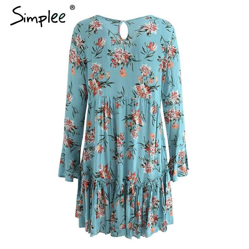 Летнее женское короткое платье Simplee, кружевное свободное гофрированное повседневное платье с длинным рукавом и цветочным принтом, уличная одежда