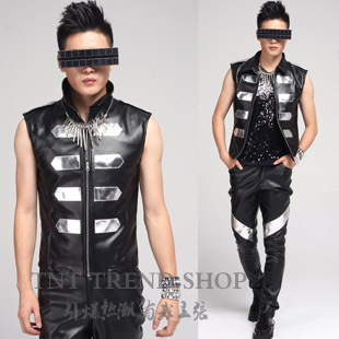 Can Be Customized ! Fashion Male Royal Wind Pu Decoration Leather Mirror Sleeveless Top Men's Clothing Plus Size Costume